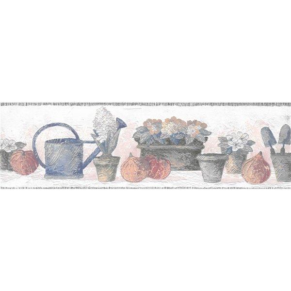 Bordure de papier peint de 5,25 po non-encollée par Dundee Deco, bleu, beige, vert, orange, rouge