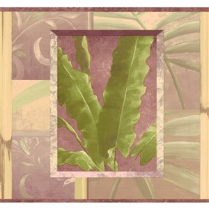Bordure de papier peint de 8 po préencollée par Dundee Deco, vert, violet, marron
