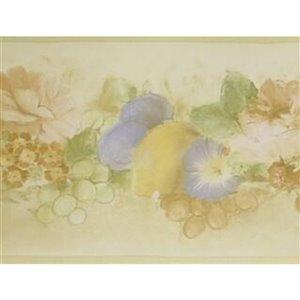 Bordure de papier peint de 7 po préencollée par Dundee Deco, marron, vert, rose, violet