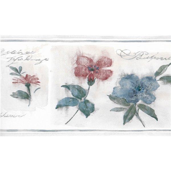 Bordure de papier peint de 8,75 po préencollée par Dundee Deco, beige, bleu, rouge