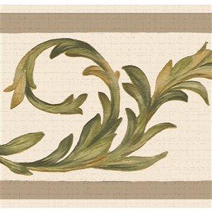Bordure de papier peint de 7 po auto-adhésive par Dundee Deco, vert, beige