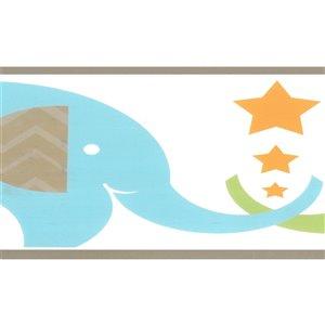 Bordure de papier peint de 6,5 po préencollée par Dundee Deco, bleu, vert, beige