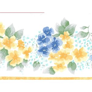 Bordure de papier peint de 7 po préencollée par Dundee Deco, bleu, vert, jaune