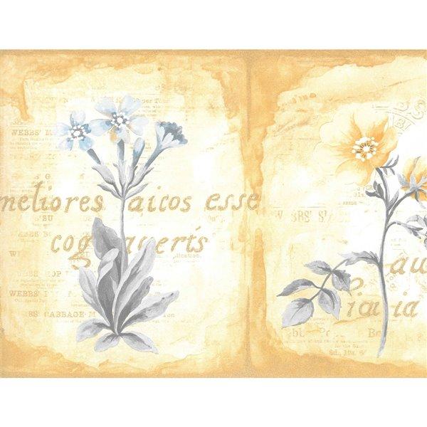 Bordure de papier peint de 7 po préencollée par Dundee Deco, or, jaune, bleu, vert