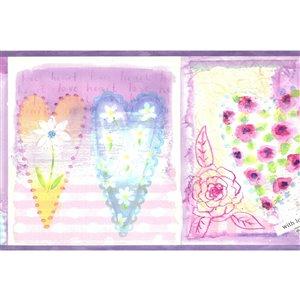 Bordure de papier peint de 7 po préencollée par Dundee Deco, violet, rose, bleu