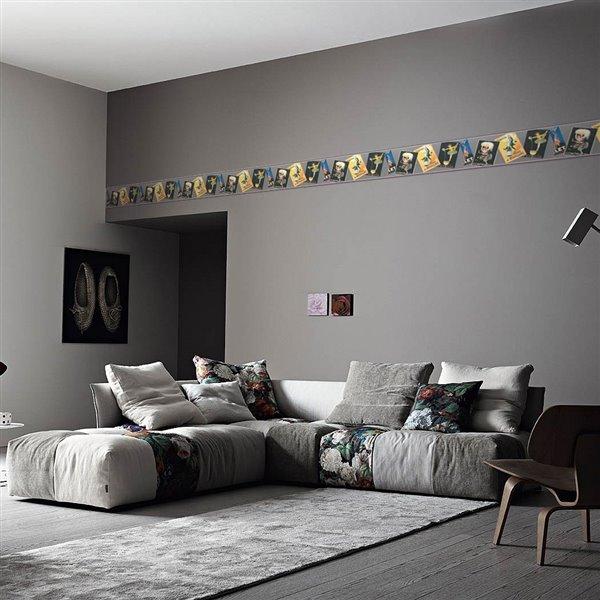 Bordure de papier peint de 10,24 po préencollée par Dundee Deco, noir, bleu, gris, jaune, rouge