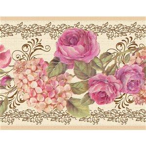 Bordure de papier peint de 7 po auto-adhésive par Dundee Deco, rose, crème
