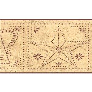 Bordure de papier peint de 6 po préencollée par Dundee Deco, beige, marron