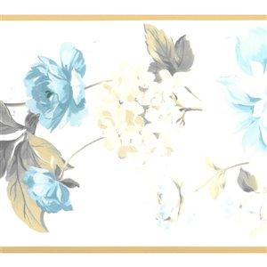 Bordure de papier peint de 8 po préencollée par Dundee Deco, beige, bleu, vert