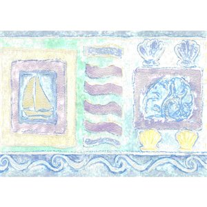 Dundee Deco 5.25-in Blue/Beige/Yellow/Green Prepasted Wallpaper Border