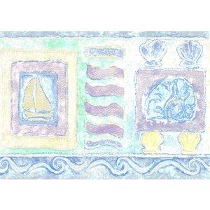 Bordure de papier peint de 5,25 po préencollée par Dundee Deco, bleu, beige, jaune, vert