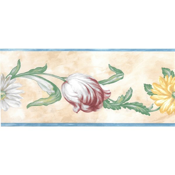 Dundee Deco 5.25-in Blue/Pink/Yellow/Green/Beige Prepasted Wallpaper Border