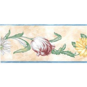 Bordure de papier peint de 5,25 po préencollée par Dundee Deco, bleu, rose, jaune, vert, beige