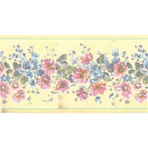 Bordure de papier peint de 4,25 po préencollée par Dundee Deco, jaune, rose, bleu