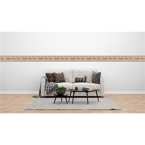 Dundee Deco 7-in Black/Sepia/Off-White Self-Adhesive Wallpaper Border