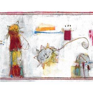 Bordure de papier peint de 6,85 po préencollée par Dundee Deco, blanc, bleu, jaune, gris
