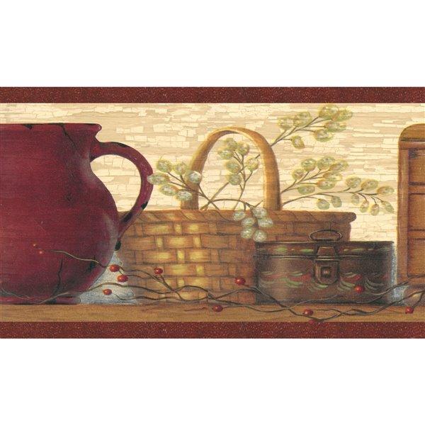 Bordure de papier peint de 7 po préencollée par Dundee Deco, Maroon, marron, beige