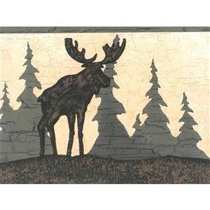 Bordure de papier peint de 6,87 po préencollée par Dundee Deco, beige, marron, vert