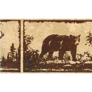 Bordure de papier peint de 6,25 po préencollée par Dundee Deco, marron, beige