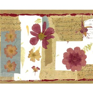 Bordure de papier peint de 6,8 po préencollée par Dundee Deco, marron, beige, bourgogne