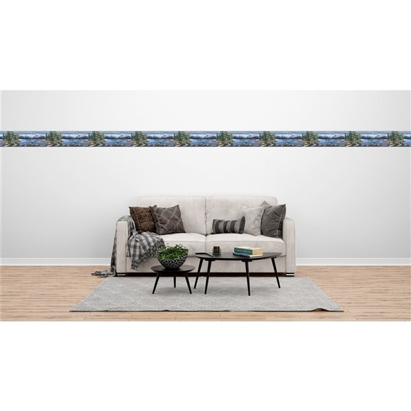 Dundee Deco 7-in Blue/Green Self-Adhesive Wallpaper Border