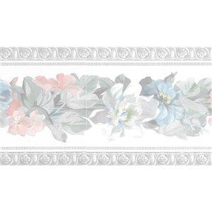 Bordure de papier peint de 6,75 po préencollée par Dundee Deco, rose, vert, bleu, blanc