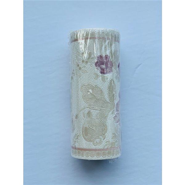 Bordure de papier peint de 5,25 po préencollée par Dundee Deco, perle, beige, vert, rose