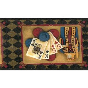 Bordure de papier peint de 7 po préencollée par Dundee Deco, or, beige, bleu, rouge, noir