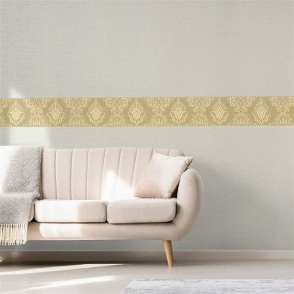 Dundee Deco 7-in Gold/Green Prepasted Wallpaper Border