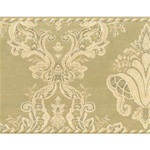 Bordure de papier peint de 7 po préencollée par Dundee Deco, or, vert
