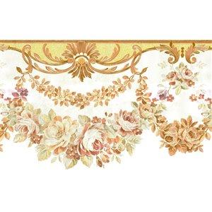 Bordure de papier peint de 6,7 po préencollée par Dundee Deco, beige, violet, gris