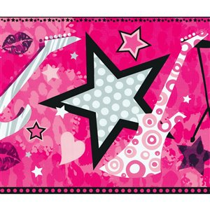 Dundee Deco 8-in Pink/Black/Grey Prepasted Wallpaper Border