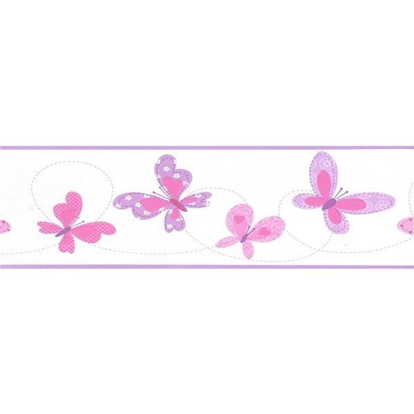 Bordure de papier peint de 6,87 po préencollée par Dundee Deco, rose, mauve