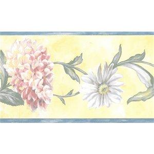 Bordure de papier peint de 5,25 po préencollée par Dundee Deco, bleu, rose, vert, jaune