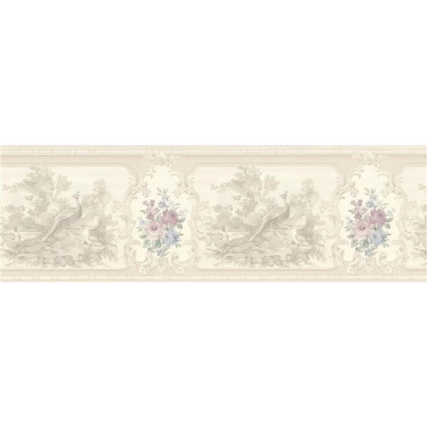 Dundee Deco 7-in Beige/Pearl/Taupe Prepasted Wallpaper Border