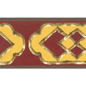 Bordure de papier peint de 5,3 po préencollée par Dundee Deco, marron, jaune