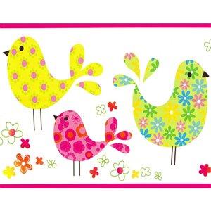 Bordure de papier peint de 5,8 po préencollée par Dundee Deco, rose, vert, jaune, bleu