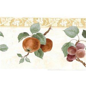 Bordure de papier peint de 6,8 po préencollée par Dundee Deco, beige, vert, mauve