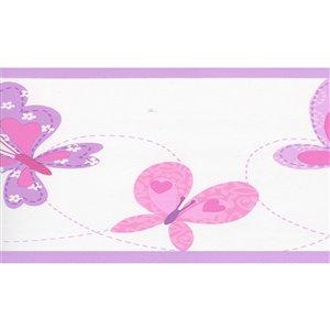 Bordure de papier peint de 7 po préencollée par Dundee Deco, rose, violet, beige