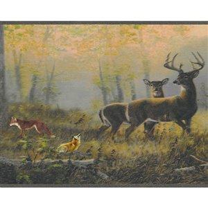 Bordure de papier peint de 7 po auto-adhésive par Dundee Deco, gris, rouge, jaune