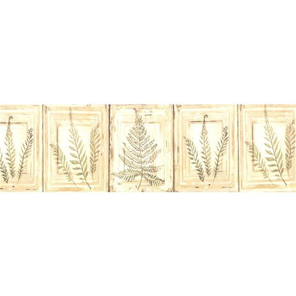 Bordure de papier peint de 6 po préencollée par Dundee Deco, marron, beige