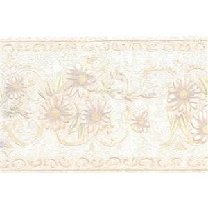 Bordure de papier peint de 5,25 po préencollée par Dundee Deco, perle, beige, vert