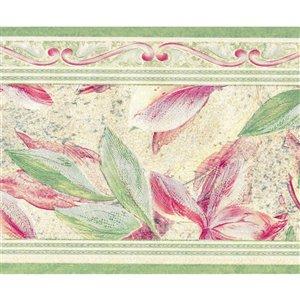 Bordure de papier peint de 7 po préencollée par Dundee Deco, rose, vert, beige