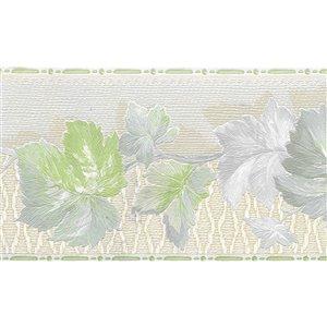 Bordure de papier peint de 4,25 po préencollée par Dundee Deco, vert, beige