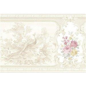 Bordure de papier peint de 7 po préencollée par Dundee Deco, perle, beige, jaune