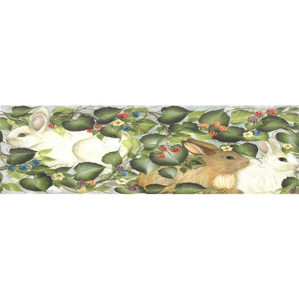 Bordure de papier peint de 10,25 po préencollée par Dundee Deco, blanc, marron