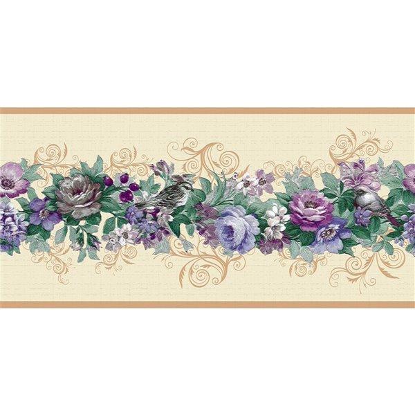 Bordure de papier peint de 7 po auto-adhésive par Dundee Deco, violet, bleu, vert, beige