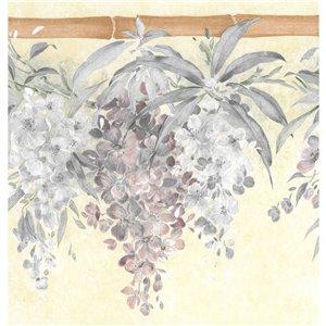 Bordure de papier peint de 10,25 po préencollée par Dundee Deco, beige, vert, violet, bleu