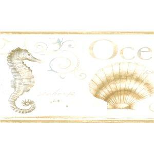 Bordure de papier peint de 6 po préencollée par Dundee Deco, or, beige