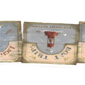 Bordure de papier peint de 7 po préencollée par Dundee Deco, bleu, rouge, marron